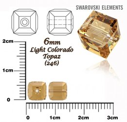 SWAROVSKI 5601 CUBE Bead LIGHT COLORADO TOPAZ 6mm