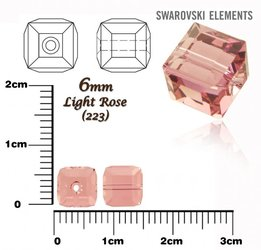SWAROVSKI 5601 CUBE Bead LIGHT ROSE 6mm