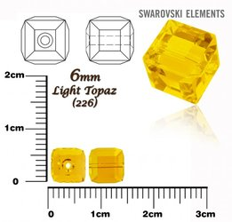 SWAROVSKI 5601 CUBE Bead LIGHT TOPAZ 6mm
