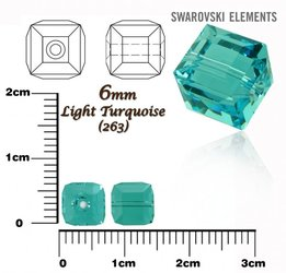 SWAROVSKI 5601 CUBE Bead LIGHT TURQUOISE 6mm