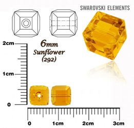 SWAROVSKI 5601 CUBE Bead SUNFLOWER 6mm