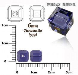 SWAROVSKI 5601 CUBE Bead TANZANITE 6mm