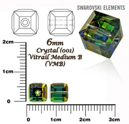 SWAROVSKI 5601 CUBE Bead VITRAIL MEDIUM 6mm