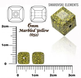SWAROVSKI 5601-B CUBE Bead MARBLED YELLOW 6mm