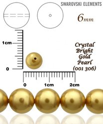 SWAROVSKI 5810 BRIGHT GOLD PEARL 306 vel-6mm