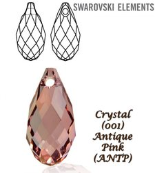 SWAROVSKI 6010 Briolette 13x6,5mm ANTIQUE PINK