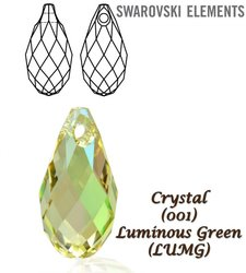 SWAROVSKI 6010 Briolette 13x6,5mm LUMINOUS GREEN