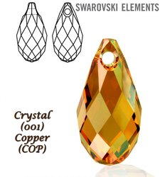 SWAROVSKI 6010 Briolette 21x10,5mm CRYSTAL COPPER