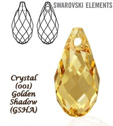 SWAROVSKI 6010 Briolette 21x10,5mm GOLDEN SHADOW