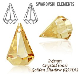 SWAROVSKI 6022 Raindrop 24mm GOLDEN SHADOW