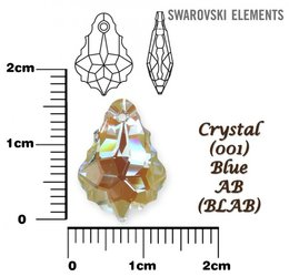 SWAROVSKI 6090 CRYSTAL BLUE AB 16x11mm
