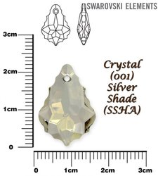 SWAROVSKI 6090 CRYSTAL SILVER SHADE 22x15mm