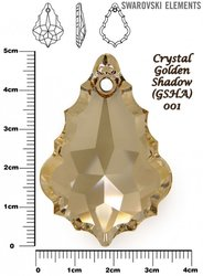 SWAROVSKI 6091 CRYSTAL GOLDEN SHADOW 50mm