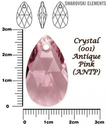 SWAROVSKI 6106 CRYSTAL ANTIQUE PINK  28mm