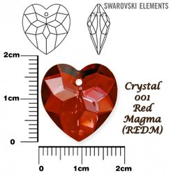 SWAROVSKI 6215 CRYSTAL RED MAGMA  18mm