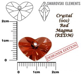 SWAROVSKI 6260 RED MAGMA 17mm