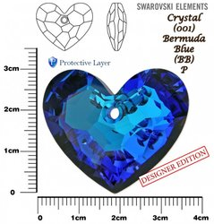 SWAROVSKI 6264 CRYSTAL BERMUDA BLUE P 36mm