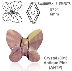 SWAROVSKI Butterfly Bead 5754 ANTIQUE PINK 6mm