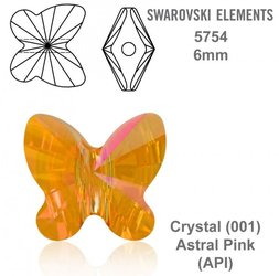 SWAROVSKI Butterfly Bead 5754 ASTRAL PINK 6mm
