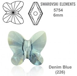 SWAROVSKI Butterfly Bead 5754 DENIM BLUE 6mm