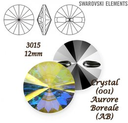 SWAROVSKI Buttons 3015 CRYSTAL AURORE BOREALE 12mm