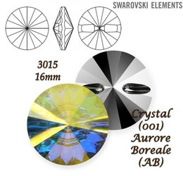SWAROVSKI Buttons 3015 CRYSTAL AURORE BOREALE 16mm