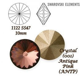 SWAROVSKI RIVOLI 1122 ANTIQUE PINK 10mm