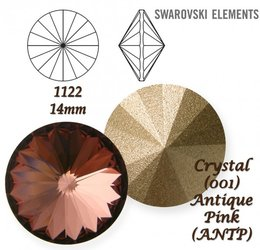 SWAROVSKI RIVOLI 1122 ANTIQUE PINK 14mm