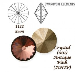 SWAROVSKI RIVOLI 1122 ANTIQUE PINK 8mm