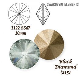 SWAROVSKI RIVOLI 1122 BLACK DIAMOND 10mm