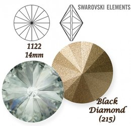 SWAROVSKI RIVOLI 1122 BLACK DIAMOND 14mm