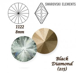 SWAROVSKI RIVOLI 1122 BLACK DIAMOND 8mm