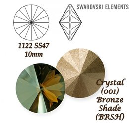 SWAROVSKI RIVOLI 1122 BRONZE SHADE 10mm