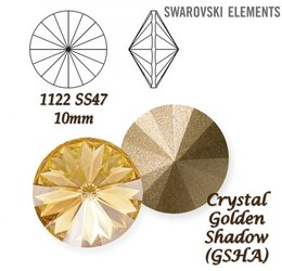 SWAROVSKI RIVOLI 1122 CRYSTAL GOLDEN SHADOW 10mm