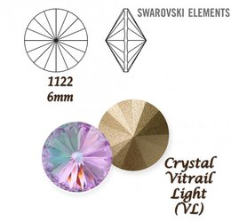 SWAROVSKI RIVOLI 1122 CRYSTAL VITRAIL LIGHT 6mm