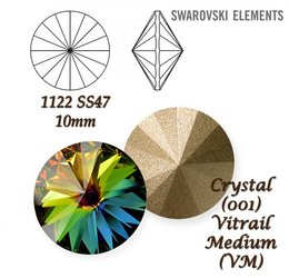 SWAROVSKI RIVOLI 1122 CRYSTAL VITRAIL MEDIUM  10mm