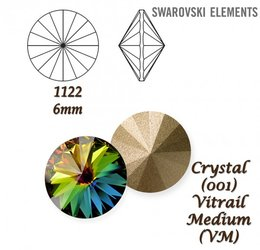 SWAROVSKI RIVOLI 1122 CRYSTAL VITRAIL MEDIUM 6mm