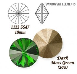 SWAROVSKI RIVOLI 1122 DARK MOSS GREEN 10mm