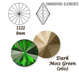 SWAROVSKI RIVOLI 1122 DARK MOSS GREEN 8mm