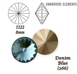 SWAROVSKI RIVOLI 1122 DENIM BLUE 8mm