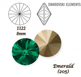 SWAROVSKI RIVOLI 1122 EMERALD 8mm