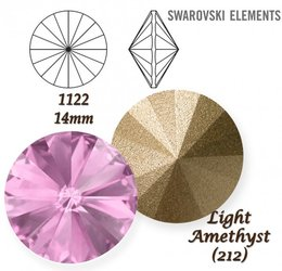 SWAROVSKI RIVOLI 1122 LIGHT AMETHYST 14mm