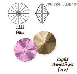 SWAROVSKI RIVOLI 1122 LIGHT AMETHYST 6mm