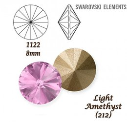 SWAROVSKI RIVOLI 1122 LIGHT AMETHYST 8mm