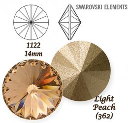 SWAROVSKI RIVOLI 1122 LIGHT PEACH 14mm