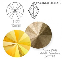 SWAROVSKI RIVOLI 1122 METALLIC SUNSHINE 12mm