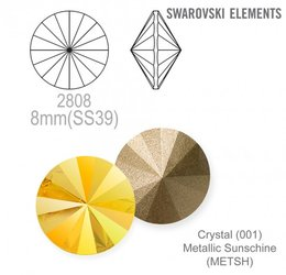 SWAROVSKI RIVOLI 1122 METALLIC SUNSHINE 8mm