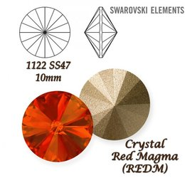 SWAROVSKI RIVOLI 1122 RED MAGMA 10mm