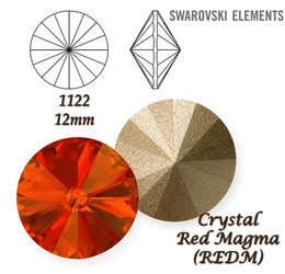 SWAROVSKI RIVOLI 1122 RED MAGMA 12mm