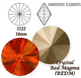 SWAROVSKI RIVOLI 1122 RED MAGMA 14mm